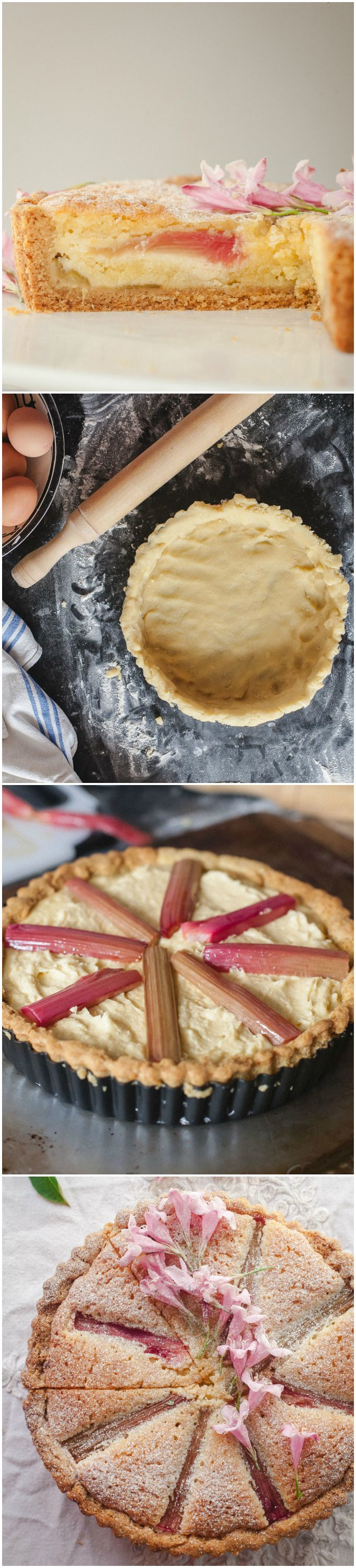 Roasted Rhubarb Bakewell Tart. Buttery tart filled with almond filling and roasted rhubarb. Another take on the British classic