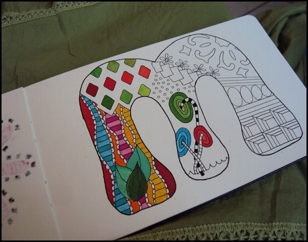 """SUB IDEA doodling letters...9X12 white sheet...have large letters to trace...add doodles, then color. have pattern sheets available to """"inspire""""."""