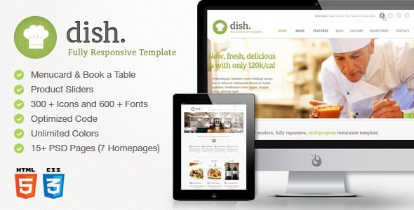 Dish Multipurpose Site Restaurant Template   http://themeforest.net/item/dish-multipurpose-site-restaurant-template/4783129?ref=damiamio       dish. WordPress Version is online! Check it out here     dish. Template Features :   15 modern looking unique Restaurant Style Screens. ( hit screenshots to see all pages)  Working Menu Card and Book a Table widget (PHP required)  New Live Twitter widget  Product sliders  300+ icons included  Optimized HTML Code  7 Alternative homepage designs with…