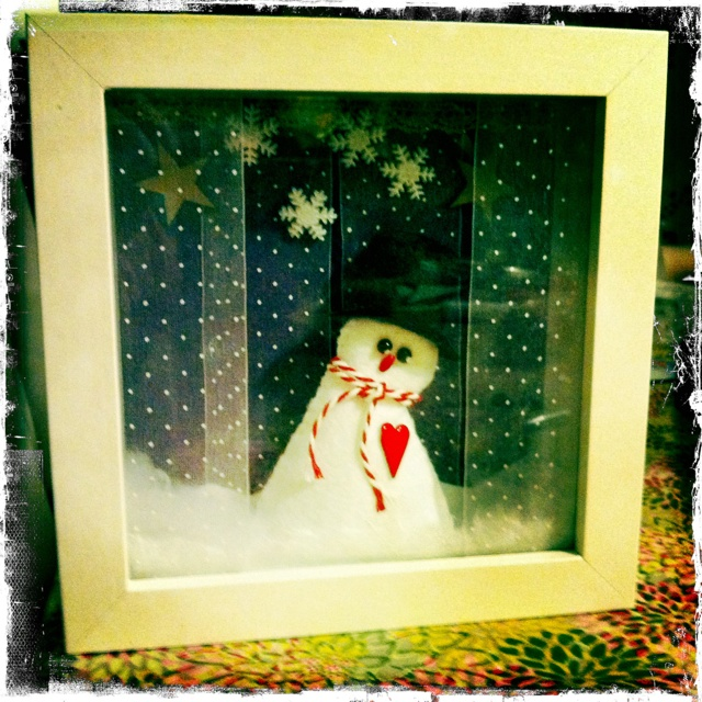 A snowman decoration made last Christmas...