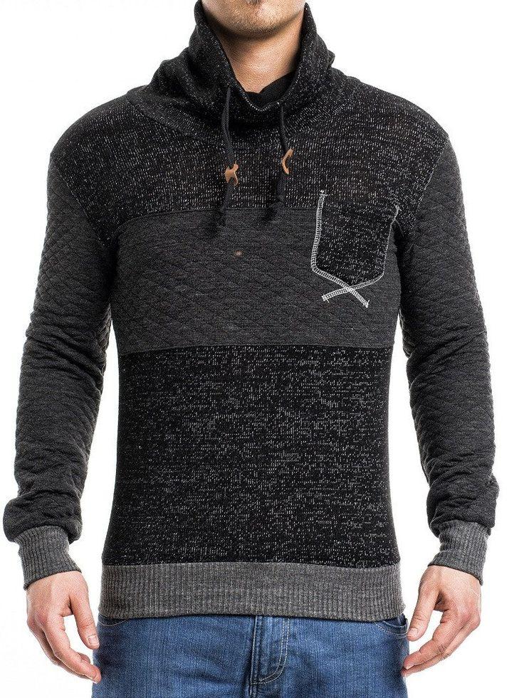 K&D Men Stylish Mock Turtle Neck Pocket Sweater - Black