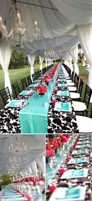 Aqua, black, white, and touches of red...GORG Tent w/ Chandeliers & fabric... I want this wedding!