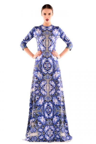 Forget-Me-Not / Niezapominajka Maxi - suknia w niebieskie kwiaty