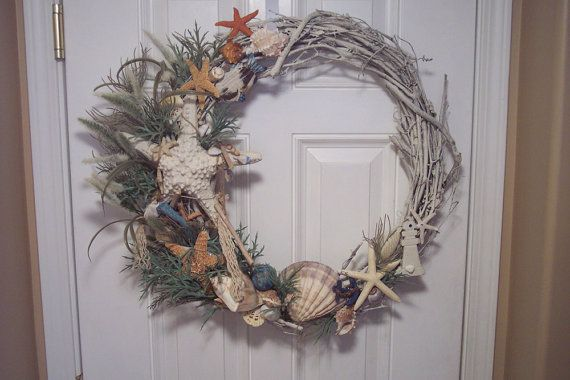 Great Beachy decor-ON SALE NOW  Seashell Wreath with Giant by DivineDesignsbyBonni, $69.00