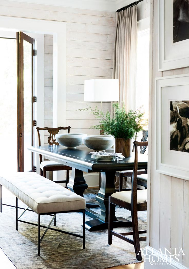 Tufted dining bench in traditional dining room via @thouswellblog