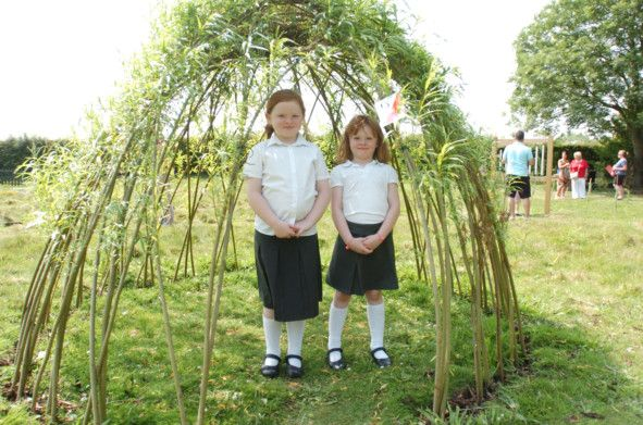 Spellbrook Primary School pupils Elizabeth and Victoria enjoying the new outdoor learning area