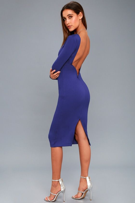 24c9fbd6b3 You'll be catching kisses left and right when you strut your stuff in the  Va Va Voom Royal Blue Backless Midi Dress! Curve-loving stretch knit hugs  your ...