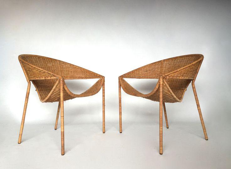 Marvelous Pair Vintage Mid Century Modern Rattan Wicker Scoop Lounge Chairs Salterini  Era