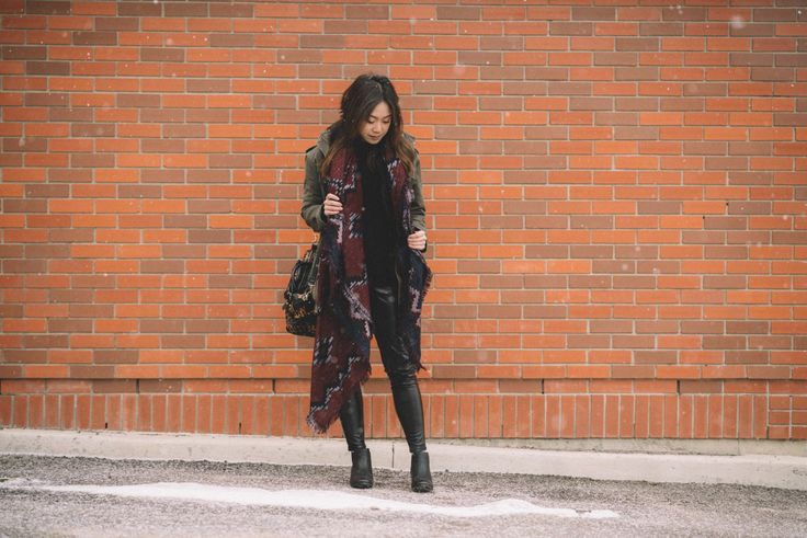 How To Style: Military Jacket & Blanket Scarves