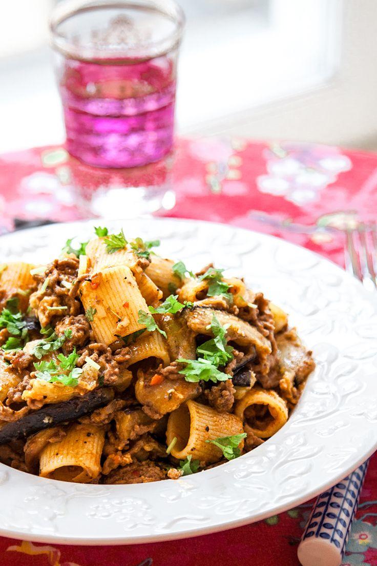 pasta aubergine grädde