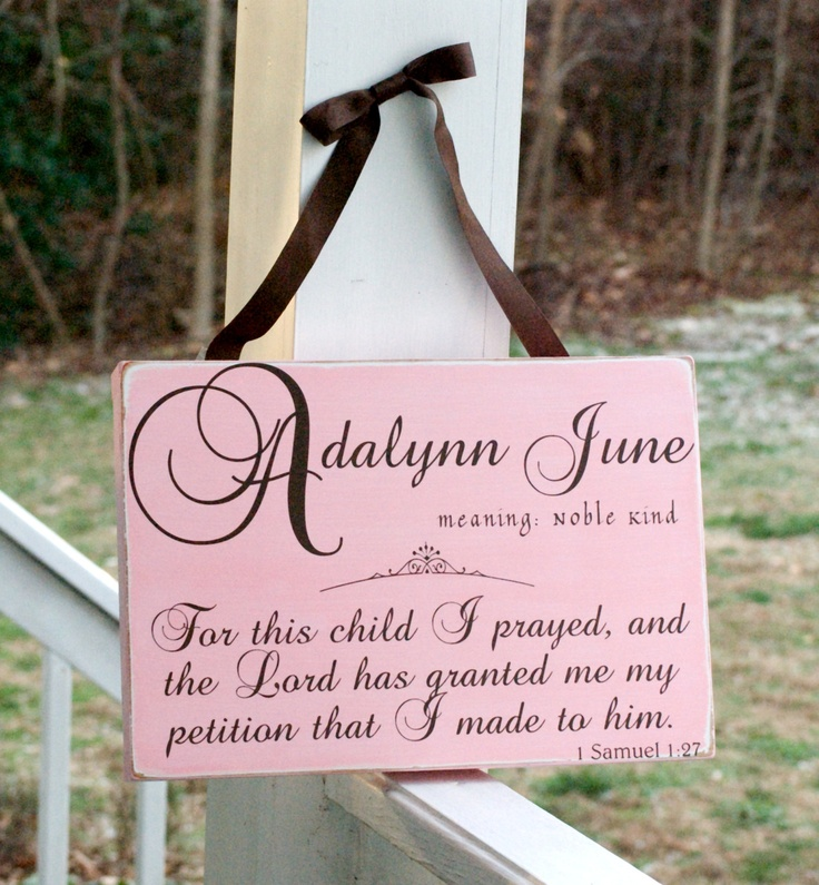 Custom Baby Name Child Board, Sign, Plaque, Samuel Scripture, Name Meaning Definition, Subway Art Typography. $45.00, via Etsy.