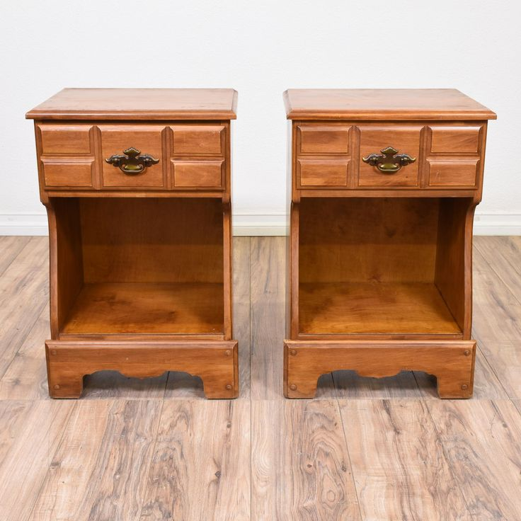This pair of traditional nightstands are featured in a solid wood with a glossy cherry finish. These end tables have 1 drawer, a bottom cabinet cubby and carved trim. Perfect bed side tables with storage! #americantraditional #dressers #nightstand #sandiegovintage #vintagefurniture
