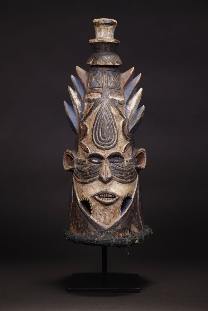 Rare Ibo Dance Crest Mask  Nsukka area, Nigeria, Africa  Wood with natural pigment color and German bluing.  Early 20th century