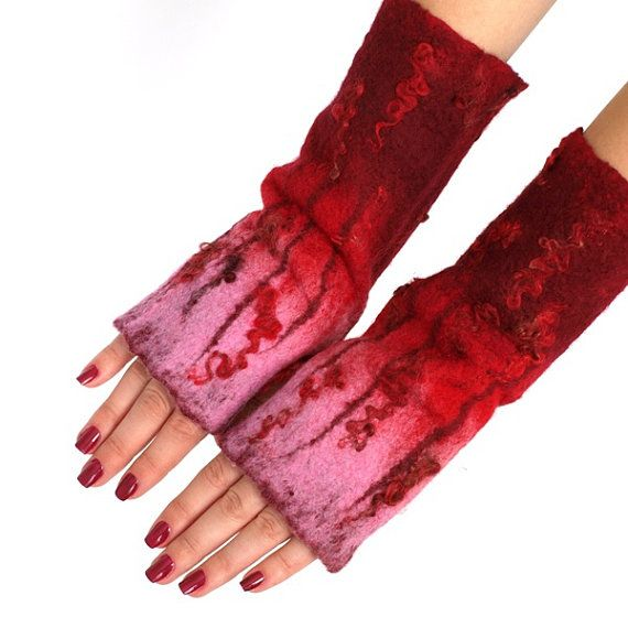 Fingerless gloves handfelted pink and red by ArtMode on Etsy