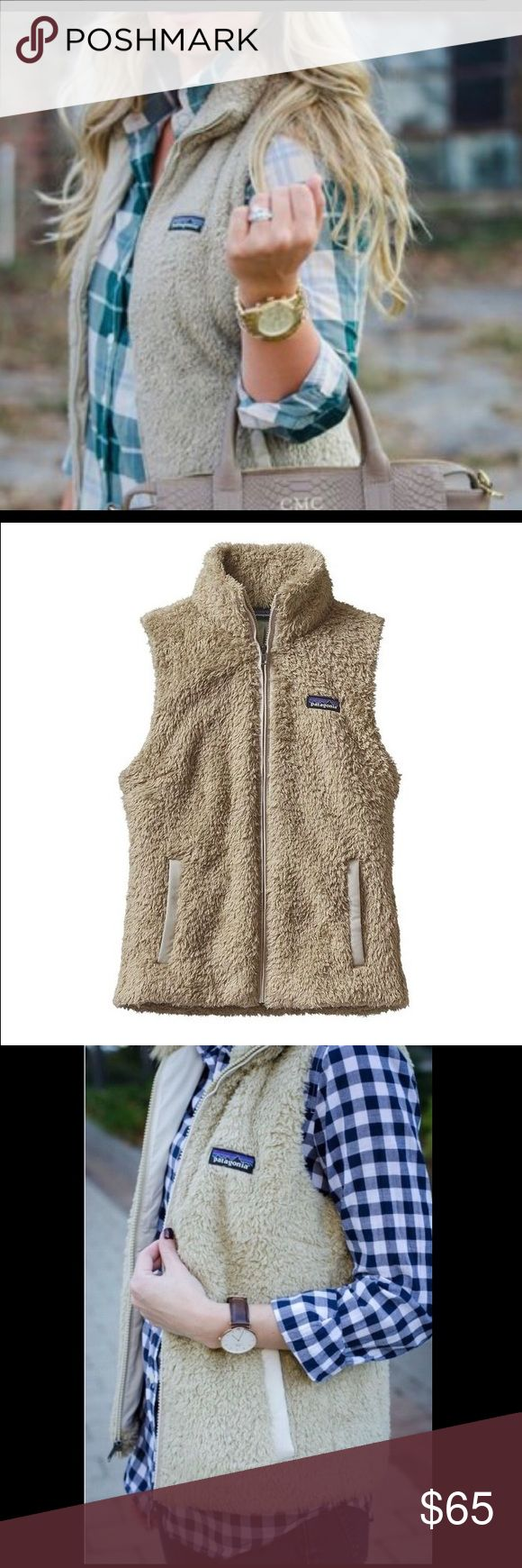 Patagonia vest. Patagonia Los Gatos Fleece vest in the color khaki. I have only worn this vest a handful of times and it is in awesome condition! It has soft fur all over and hand warmer pockets in front. A zipper going down the front keeps the cold out and the heat in! Fleece lined stand up collar. Size large but I wear a small and this still looked cute on me. Stylish and warm! Patagonia Jackets & Coats Vests
