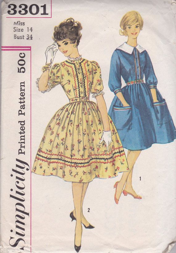 Sweet 1960s Day Dress Pattern Simplicity 3301 Size 14