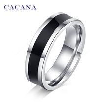 CACANA acier inoxydable anneaux pour les femmes polissage cool noir de mode…
