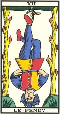 Interprétation de l'arcane du Pendu dans le jeu du Tarot de Marseille. - Apprendre le Tarot de Marseille, le Tarot Divinatoire