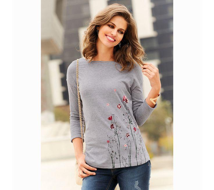 Tričko se 3/4 rukávy a zakulaceným spodním lemem   modino.cz #modino_cz #modino_style #style #fashion #autumn #bestseller #podzim