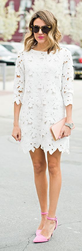 Teenage Fashion Blog: White Lace Dress with Pink Pumps   Spring Street O...