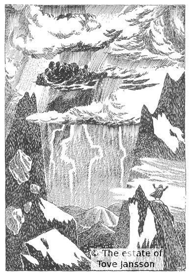 Tove Jansson's illustrations to J. R. R. Tolkien: Bilbo – en hobbits äventyr, Rabén & Sjögren, 1962, p. 65 - The Misty Mountains