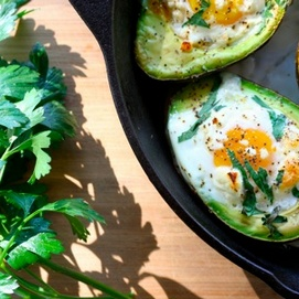 Sunday Recipe: Baked Egg in an Avocado with Parsley and Goat Cheese