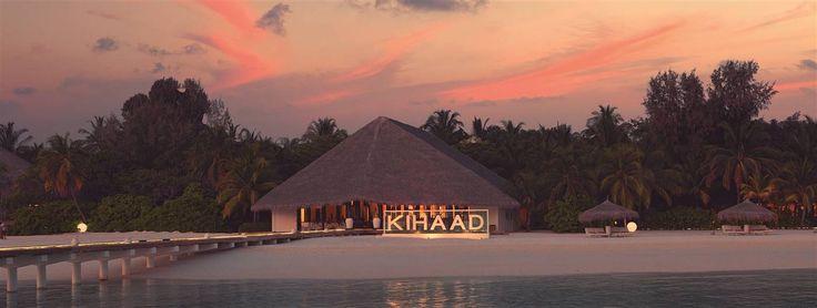 Fantastico tramonto al kihaad resort sull'atollo di baa alle Maldive
