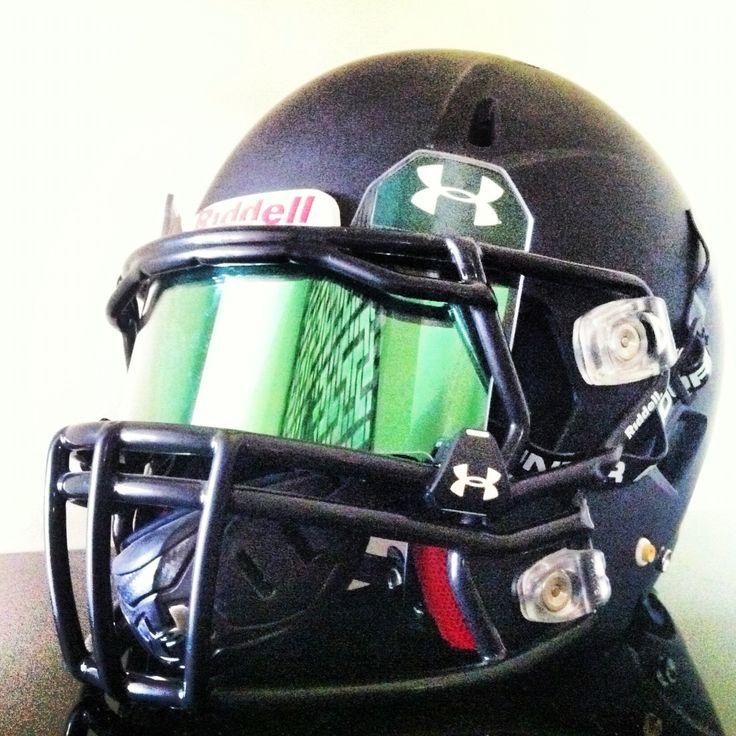 mirror visor football. shoc green insert in an under armour visor installed into a riddell revo speed football helmet mirror