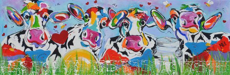 Dit is een: Acrylverf op doek, titel: 'Bloemen en de bijtjes' kunstwerk vervaardigd door: Mirthe Kolkman