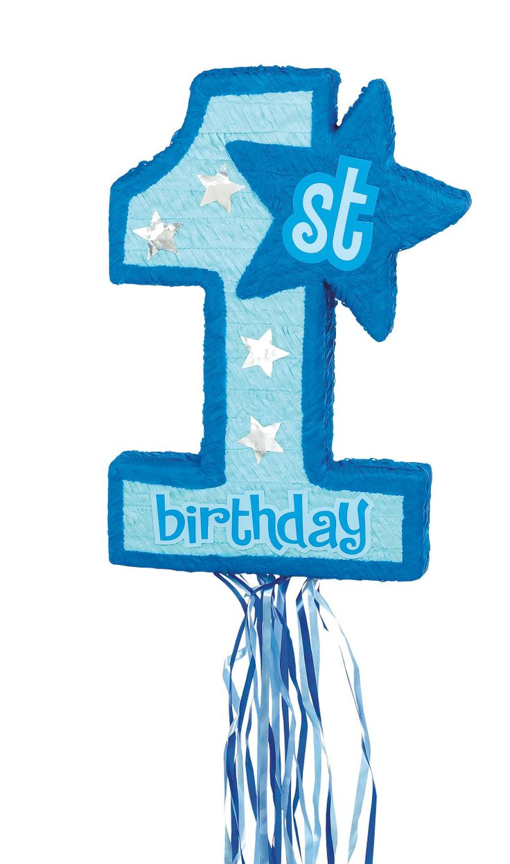 Blue 1st Birthday Pull String Pinata, 30231