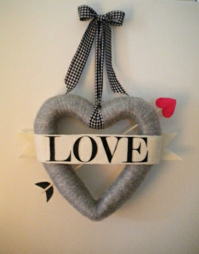 Heart wreath made with styrofoam and yarn