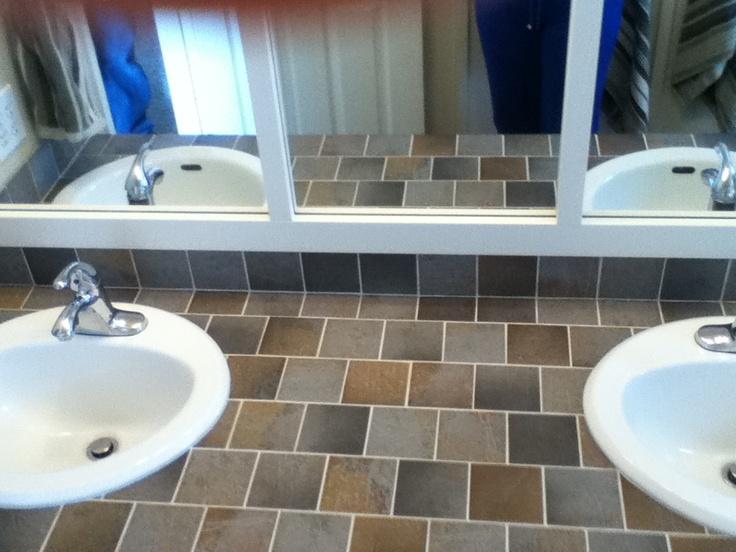 Tiled countertop in kids' bathroom