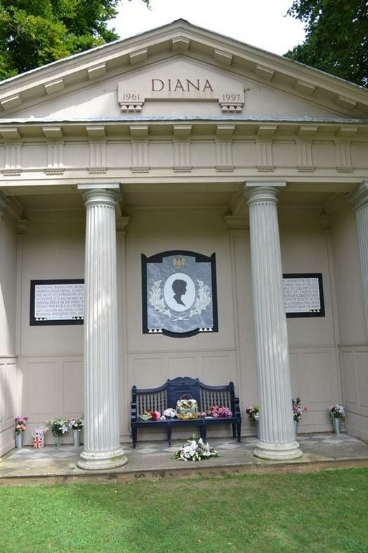 Diana's memorial at her ancestral home, set up by her brother Charles the 9th Earl Spencer, in the grounds of Althorp House in Northamptonshire, England.