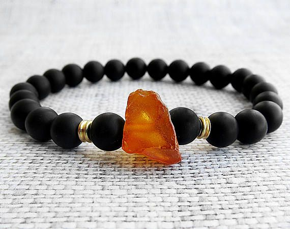 Hand Made Raw Baltic Amber Bracelet for Men