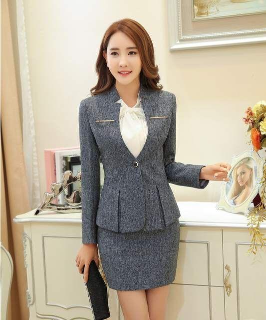 Formal gris blazer mujeres Trajes con falda y chaqueta Sets Oficina damas  uniformes de trabajo para salón de belleza elegante estilo ol 93fe4b771188