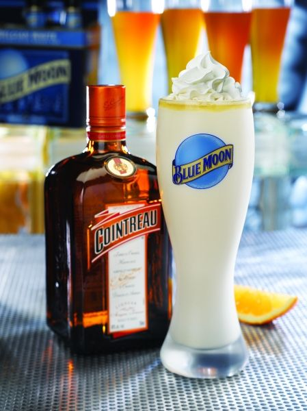 Red Robin Blue Moon milkshake: Blue Moon, Cointreau, OJ, ice cream....