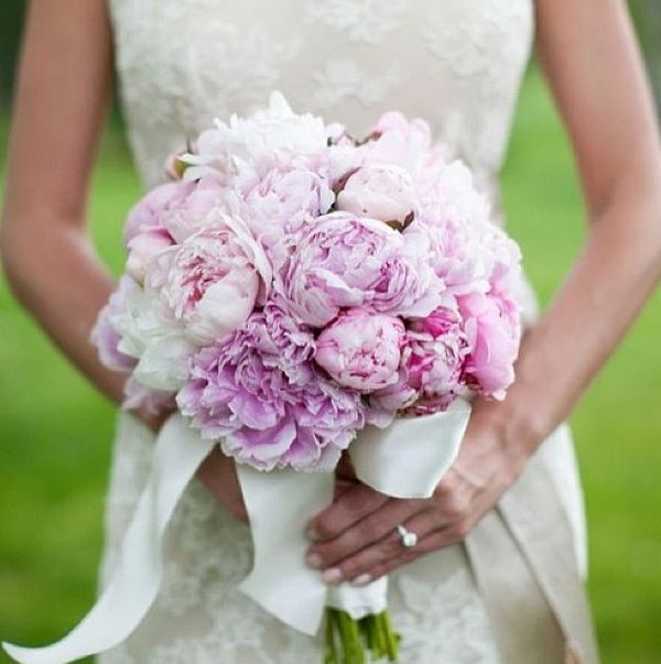 Gorgeous Textured Romantic Purple Lilac Peony Hand Tied Wedding Bouquet