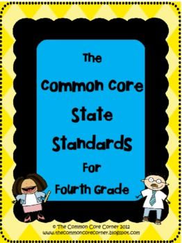 Here are the 4th Grade Common Core State Standards that are easy to read and a quick reference guide! This allows for the Core Standards to be inse...