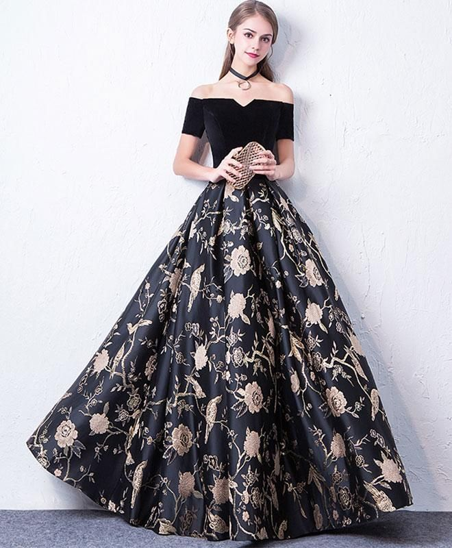 d90344b50f Black off shoulder long prom dress, black evening dress | formal ...