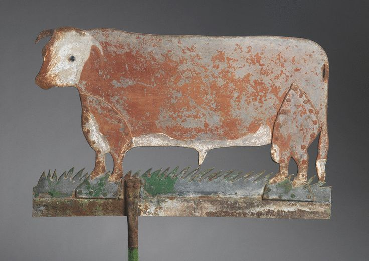 Unusual Cow Form Weathervane Weathered Sheet Metal with Traces of Original Painted Decoration ca.1880    ...