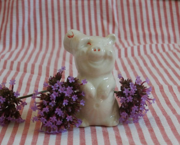 Cute Piggy Wearing a Hat Miniature Figurine, Older Vintage by MendozamVintage on Etsy