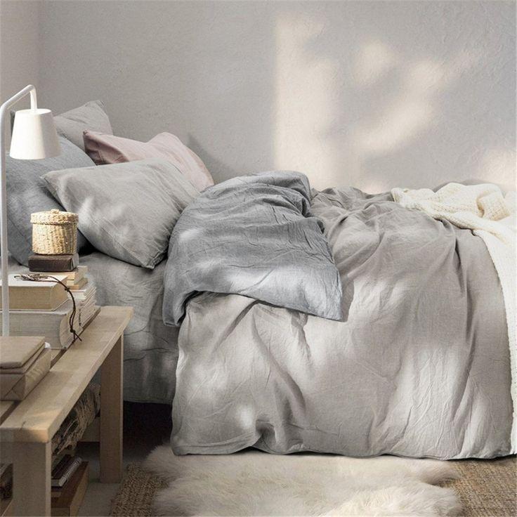 Amazon|Dewel 洗いざらしの綿100% 布団カバー4点セット 夏用超薄く通気性が良い 軽い 薄い グレー (ダブル, 4点セット)|ベッドカバー オンライン通販