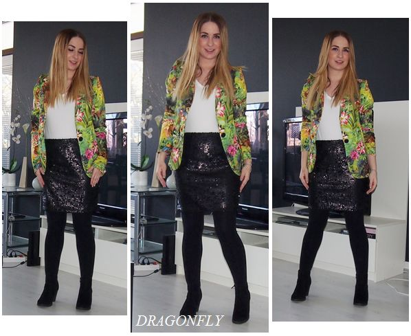 Black sequin skirt, tropical fashion blazer, white tee. Ankle boots.