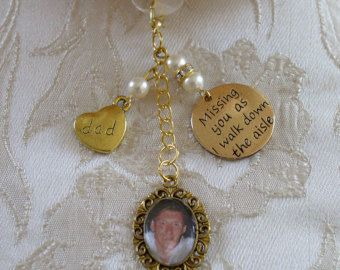 Ivory Swarovski Bead Gold Tone Dad Memorial Bouquet Photo Charm Wedding - £10.00 plus p&p