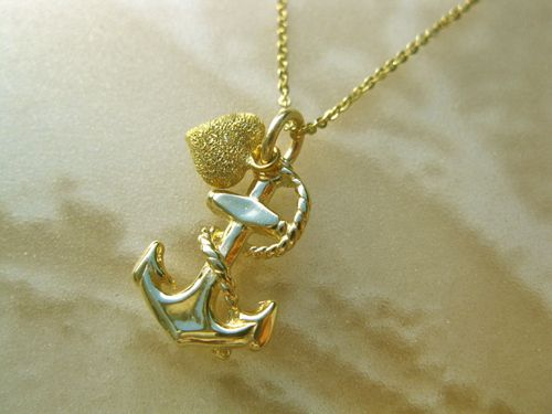 Anchor necklace with heart ~ 9ct gold. A really special and enchanting gift for hope, adventure . . and fun