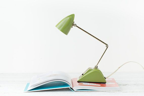 Vintage Small Green Desk Lamp Jointed Desk Light Hamilton Desk Lamp Green Office Decor Retro Lamp Retro Desk Green Desk Retro Lamp Green Office Decor