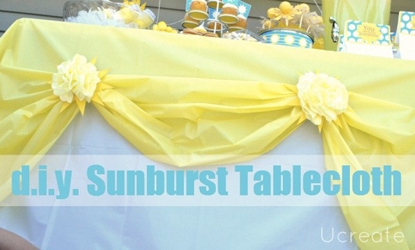 Cute! I love this idea.Pink Flower, Parties Plans, Sunburst Tablecloth, Birthday Parties, Diy Sunburst, Plastic Tablecloth, Tissue Flower, Parties Ideas, Desserts Tables