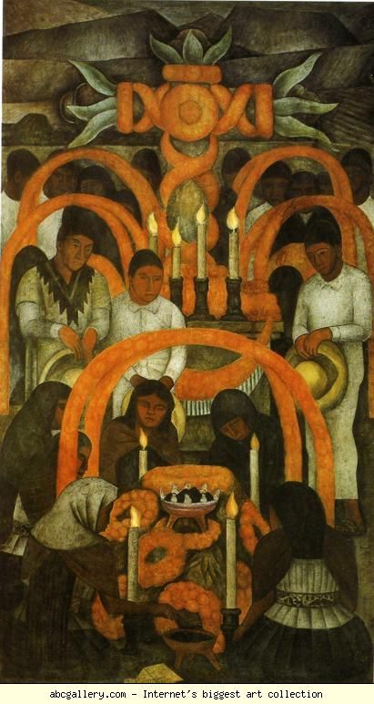 Diego Rivera. From the cycle: Political Vision of the Mexican People (Court of Fiestas): The Sacrificial Offering - Day of the Dead. / La ofrenda - D�a de muertos. Olga's Gallery.
