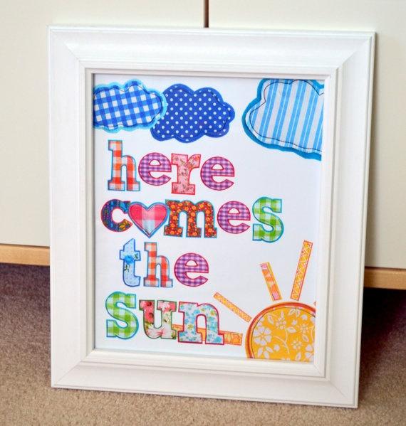 Beatles 8x10 nursery print here comes the sun by prettyprintsshop 9