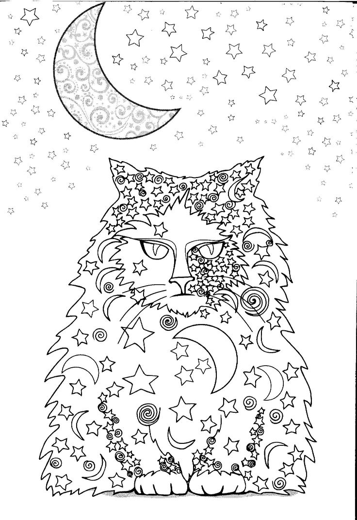 Moon and stars cat Coloriage Chat qui joue avec
